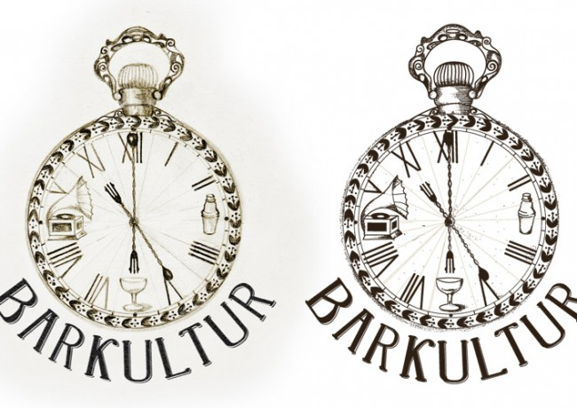 Barkultur logo, original left, vectorized right