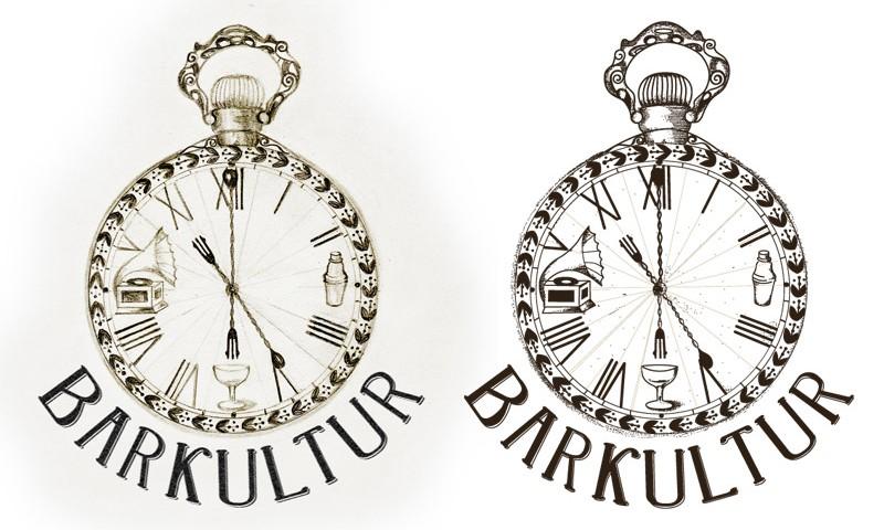 Barkultur logo, original left, vectorized right