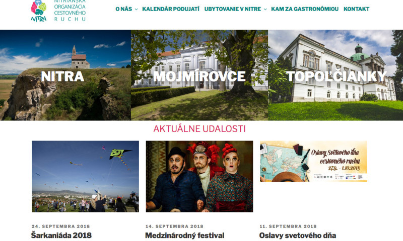Nitra Tourist Board web screenshot